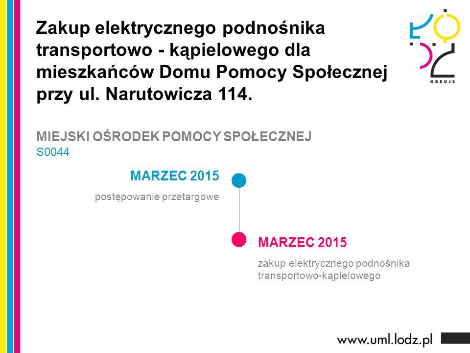 MARZEC 2015 postępowanie przetargowe MARZEC 2015 zakup elektrycznego podnośnika transportowo-kąpielowego Zakup elektrycznego podnośnika transportowo - kąpielowego dla mieszkańców Domu Pomocy Społecznej przy ul.