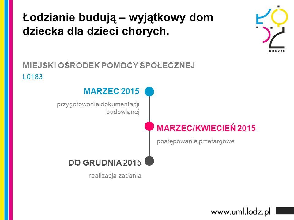 MARZEC 2015 przygotowanie dokumentacji budowlanej MARZEC/KWIECIEŃ 2015 postępowanie przetargowe DO GRUDNIA 2015 realizacja zadania Łodzianie budują – wyjątkowy dom dziecka dla dzieci chorych.