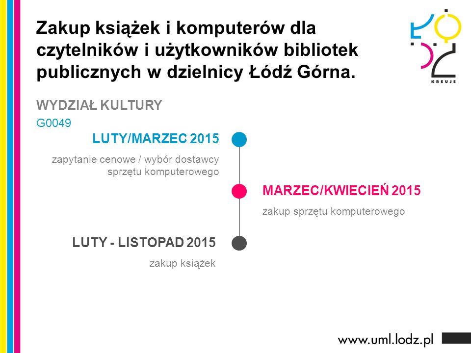 LUTY/MARZEC 2015 zapytanie cenowe / wybór dostawcy sprzętu komputerowego MARZEC/KWIECIEŃ 2015 zakup sprzętu komputerowego LUTY - LISTOPAD 2015 zakup książek Zakup książek i komputerów dla czytelników i użytkowników bibliotek publicznych w dzielnicy Łódź Górna.