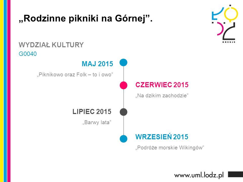 """MAJ 2015 """"Piknikowo oraz Folk – to i owo CZERWIEC 2015 """"Na dzikim zachodzie LIPIEC 2015 """"Barwy lata WRZESIEŃ 2015 """"Podróże morskie Wikingów """"Rodzinne pikniki na Górnej ."""