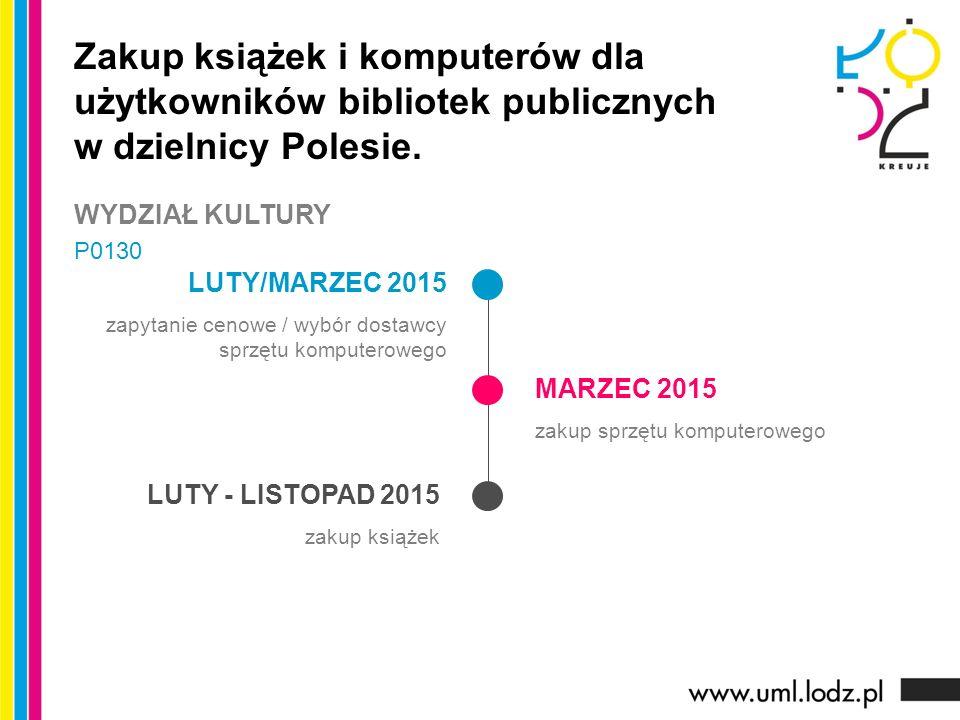 LUTY/MARZEC 2015 zapytanie cenowe / wybór dostawcy sprzętu komputerowego MARZEC 2015 zakup sprzętu komputerowego LUTY - LISTOPAD 2015 zakup książek Zakup książek i komputerów dla użytkowników bibliotek publicznych w dzielnicy Polesie.