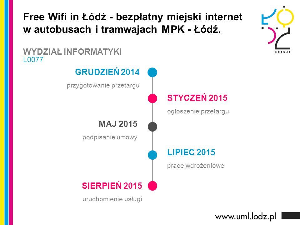 GRUDZIEŃ 2014 przygotowanie przetargu STYCZEŃ 2015 ogłoszenie przetargu MAJ 2015 podpisanie umowy LIPIEC 2015 prace wdrożeniowe Free Wifi in Łódź - bezpłatny miejski internet w autobusach i tramwajach MPK - Łódź.