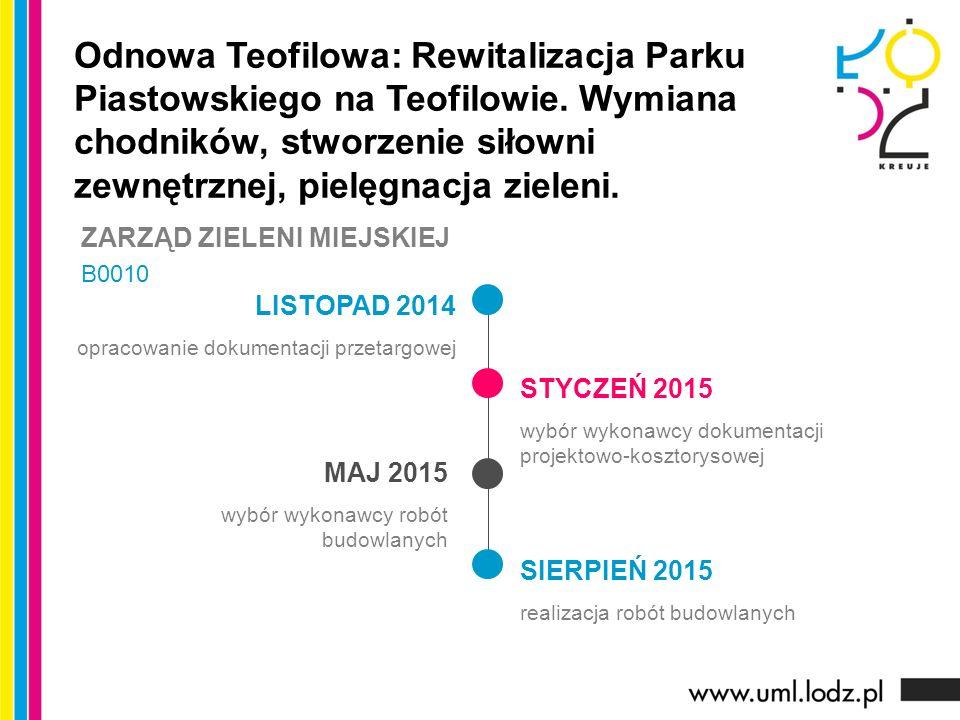 LISTOPAD 2014 opracowanie dokumentacji przetargowej STYCZEŃ 2015 wybór wykonawcy dokumentacji projektowo-kosztorysowej MAJ 2015 wybór wykonawcy robót budowlanych Odnowa Teofilowa: Rewitalizacja Parku Piastowskiego na Teofilowie.