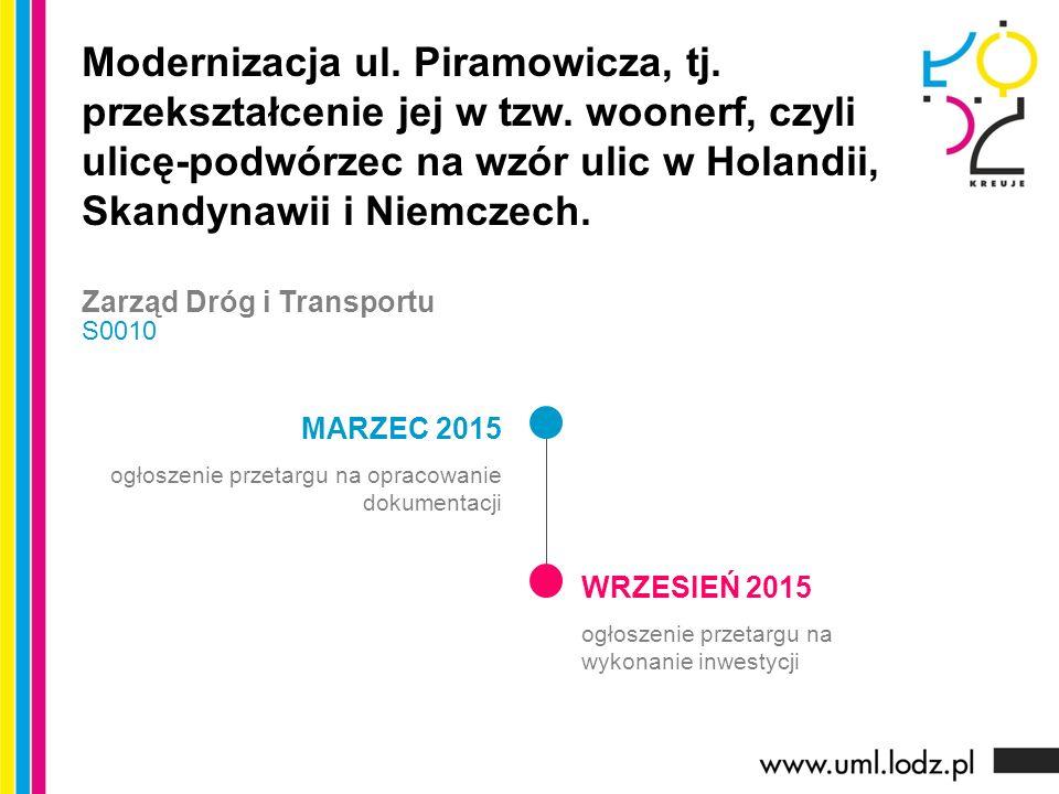 MARZEC 2015 ogłoszenie przetargu na opracowanie dokumentacji WRZESIEŃ 2015 ogłoszenie przetargu na wykonanie inwestycji Modernizacja ul.