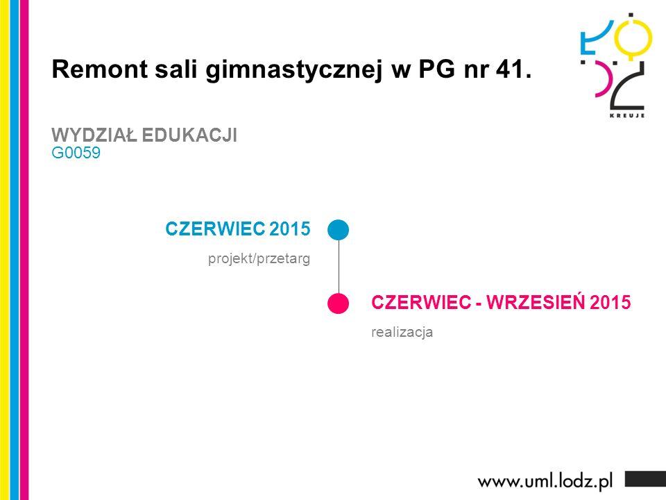 CZERWIEC 2015 projekt/przetarg CZERWIEC - WRZESIEŃ 2015 realizacja Remont sali gimnastycznej w PG nr 41.