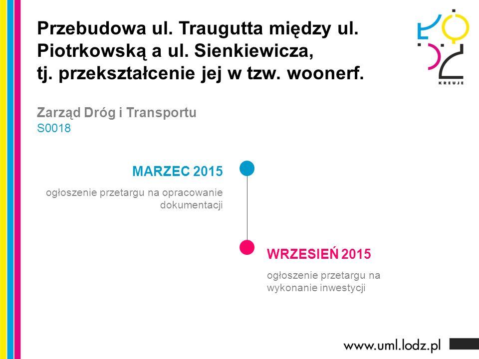 MARZEC 2015 ogłoszenie przetargu na opracowanie dokumentacji WRZESIEŃ 2015 ogłoszenie przetargu na wykonanie inwestycji Przebudowa ul.