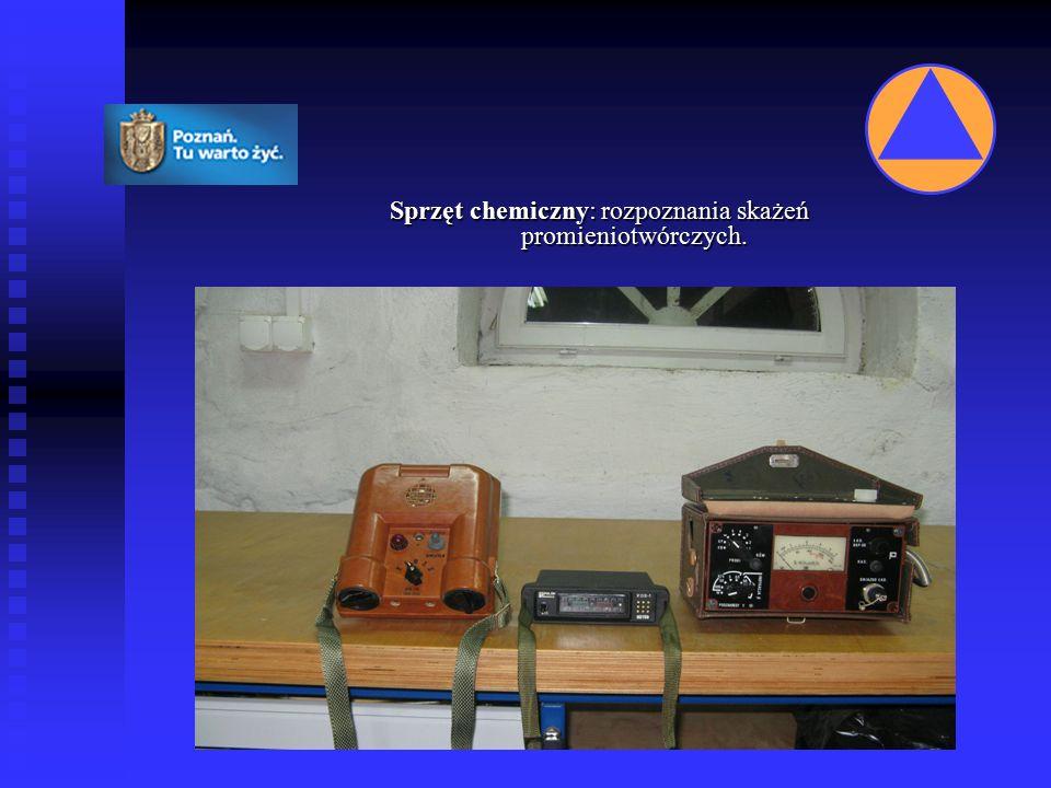 Sprzęt chemiczny: rozpoznania skażeń promieniotwórczych.