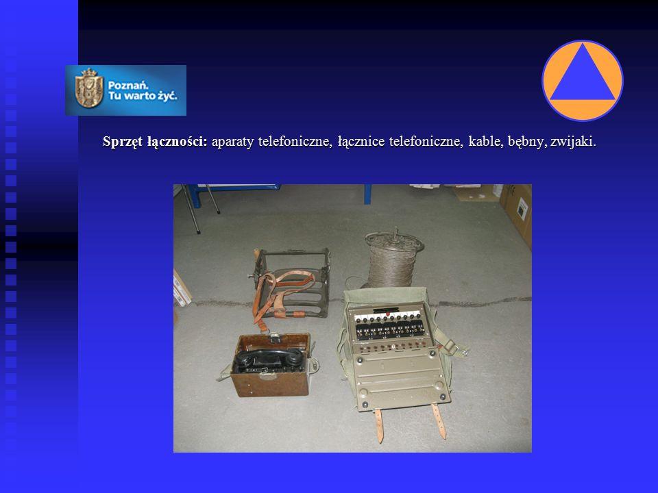 Sprzęt łączności: aparaty telefoniczne, łącznice telefoniczne, kable, bębny, zwijaki.