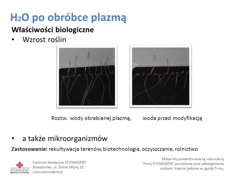 Właściwości biologiczne Wzrost roślin a także mikroorganizmów Zastosowanie: rekultywacja terenów, biotechnologia, oczyszczanie, rolnictwo Roztw. wody
