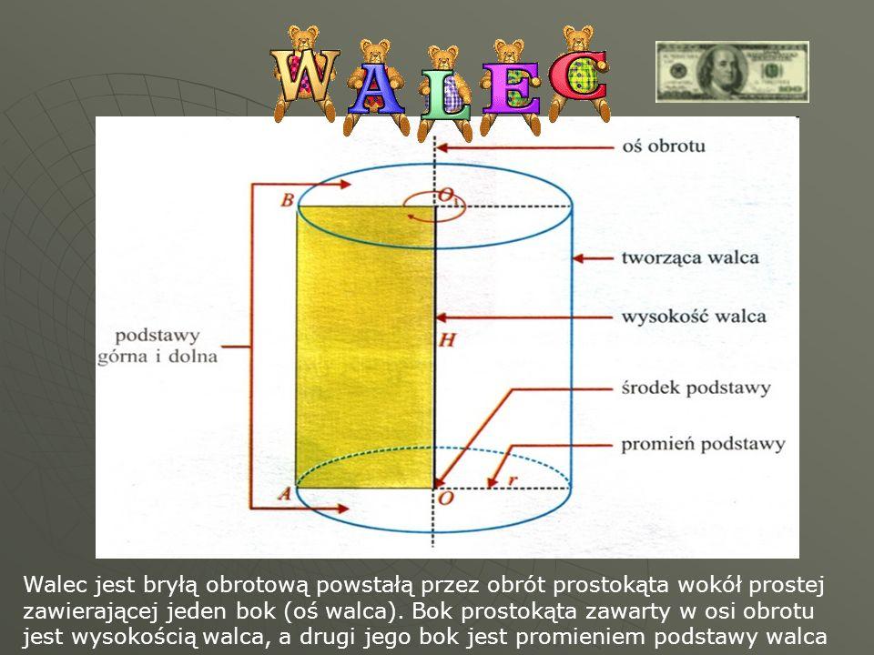 Walec jest bryłą obrotową powstałą przez obrót prostokąta wokół prostej zawierającej jeden bok (oś walca). Bok prostokąta zawarty w osi obrotu jest wy