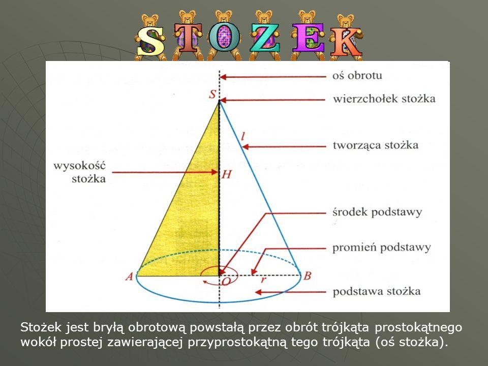 . Stożek jest bryłą obrotową powstałą przez obrót trójkąta prostokątnego wokół prostej zawierającej przyprostokątną tego trójkąta (oś stożka).