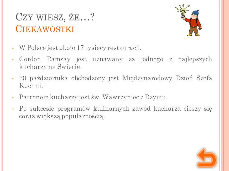C ZY WIESZ, ŻE …. C IEKAWOSTKI W Polsce jest około 17 tysięcy restauracji.