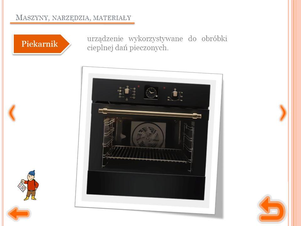 M ASZYNY, NARZĘDZIA, MATERIAŁY urządzenie wykorzystywane do obróbki cieplnej dań pieczonych.
