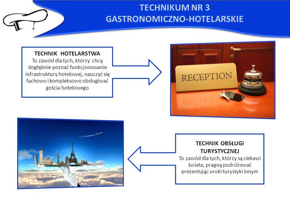 TECHNIKUM NR 3 GASTRONOMICZNO-HOTELARSKIE TECHNIK HOTELARSTWA To zawód dla tych, którzy chcą dogłębnie poznać funkcjonowanie infrastruktury hotelowej,