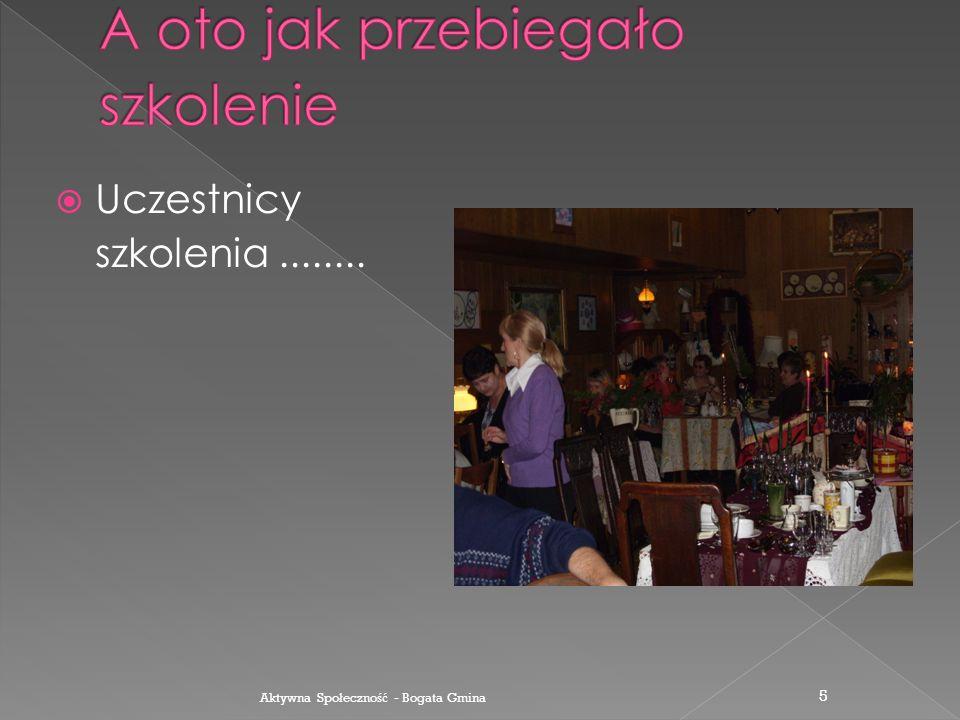 Sala wykładowa została odpowiednio przygotowana na przyjęcie kursantów Aktywna Spo ł eczno ść - Bogata Gmina 4