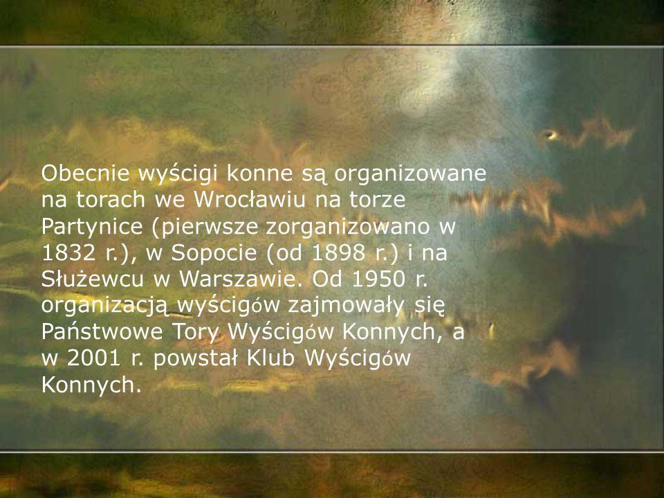 Na ziemiach polskich pierwsze wyścigi konne zorganizowano w 1839 r. w Poznaniu i 1841 r. na Polach Mokotowskich. Od 1939 r. warszawskie wyścigi przeni
