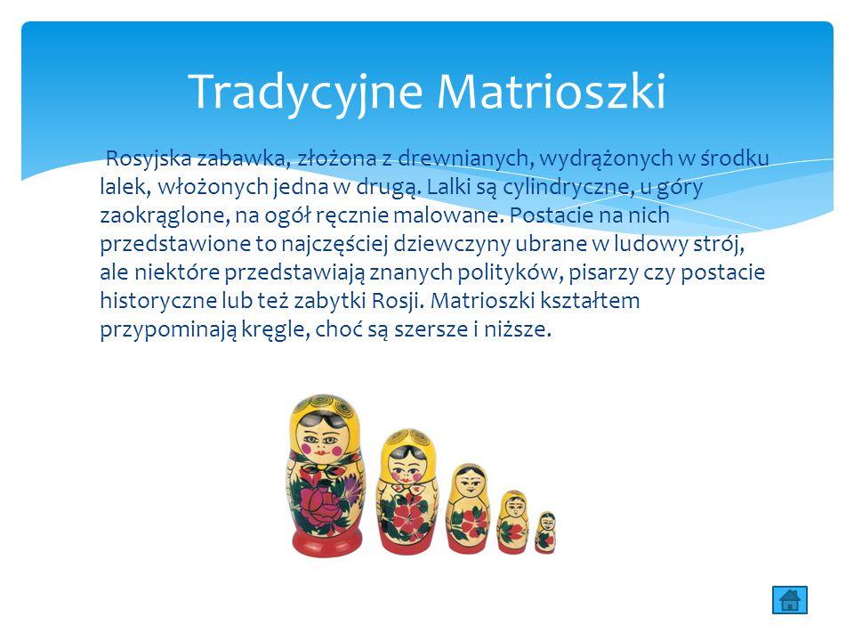 Rosyjska zabawka, złożona z drewnianych, wydrążonych w środku lalek, włożonych jedna w drugą.