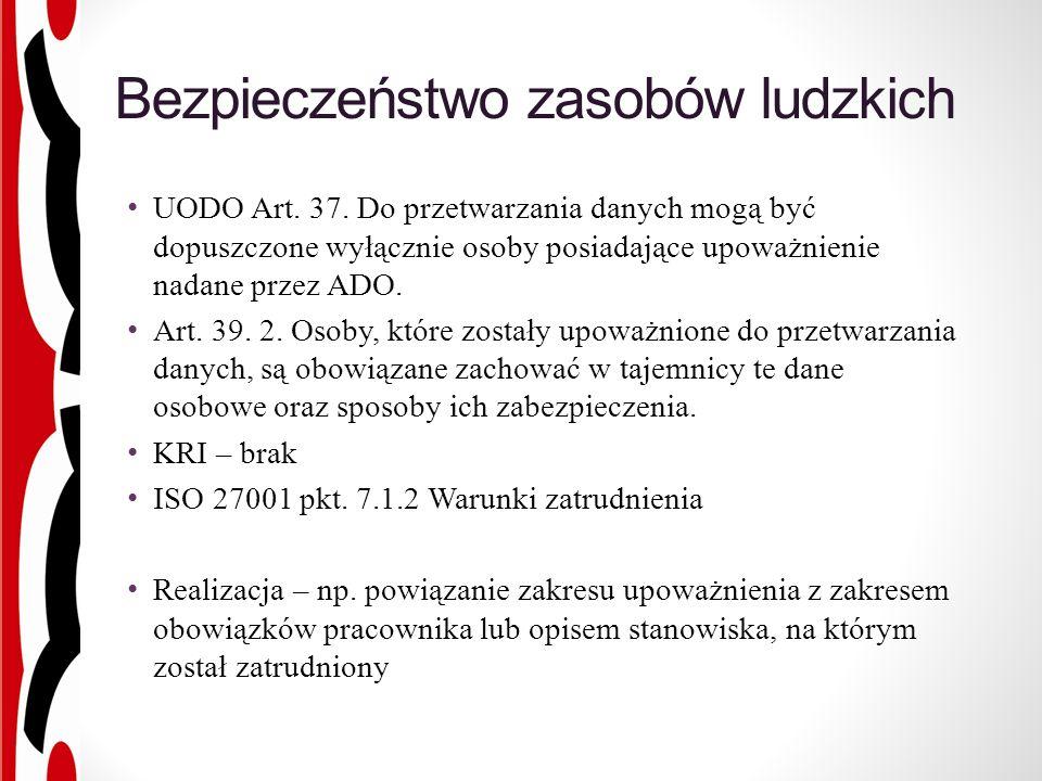 Bezpieczeństwo zasobów ludzkich UODO Art. 37.