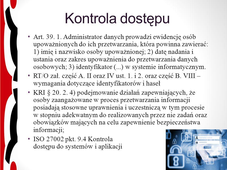 Kontrola dostępu Art. 39. 1.