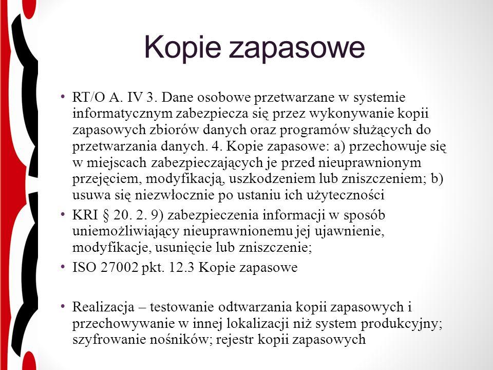 Kopie zapasowe RT/O A. IV 3.