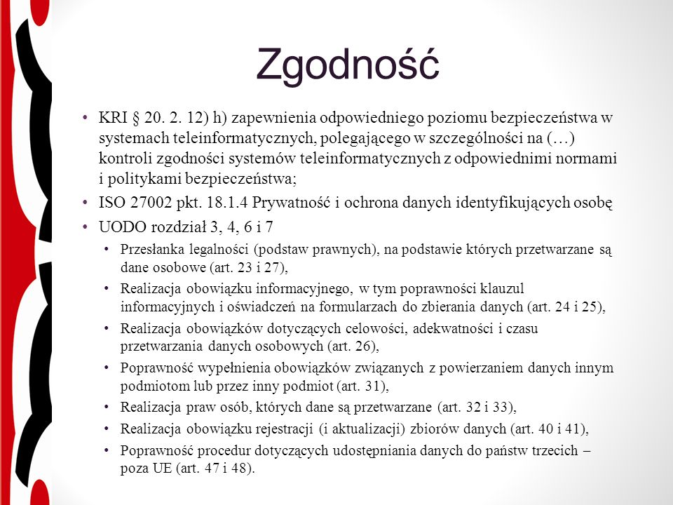 Zgodność KRI § 20. 2.