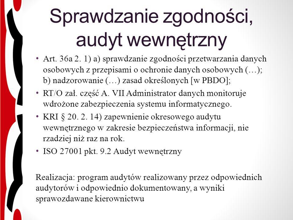 Sprawdzanie zgodności, audyt wewnętrzny Art. 36a 2.