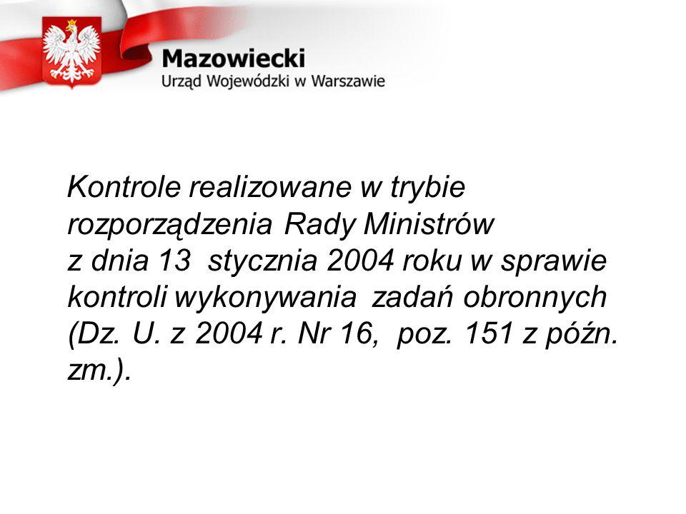 Kontrole realizowane w trybie rozporządzenia Rady Ministrów z dnia 13 stycznia 2004 roku w sprawie kontroli wykonywania zadań obronnych (Dz.