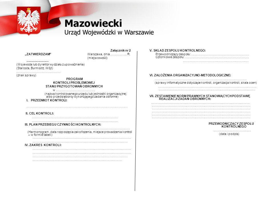 """Załącznik nr 2 """"ZATWIERDZAM Warszawa, dnia…………….."""
