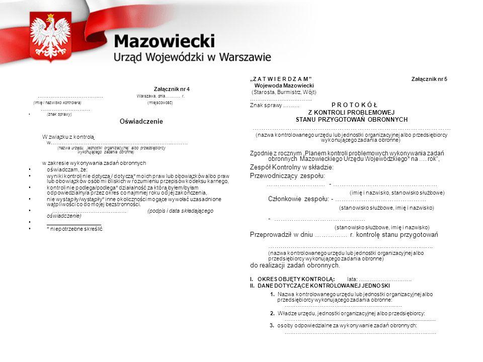 Załącznik nr 4 ……………………………… Warszawa, dnia…….….. r.