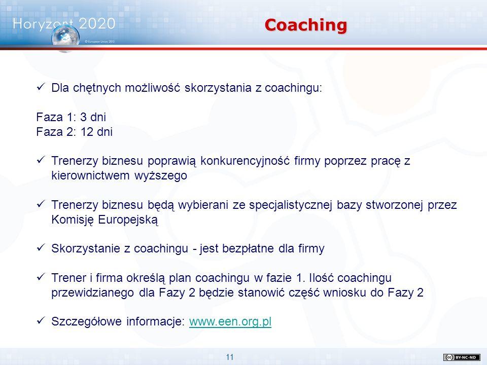 11 Coaching Dla chętnych możliwość skorzystania z coachingu: Faza 1: 3 dni Faza 2: 12 dni Trenerzy biznesu poprawią konkurencyjność firmy poprzez pracę z kierownictwem wyższego Trenerzy biznesu będą wybierani ze specjalistycznej bazy stworzonej przez Komisję Europejską Skorzystanie z coachingu - jest bezpłatne dla firmy Trener i firma określą plan coachingu w fazie 1.