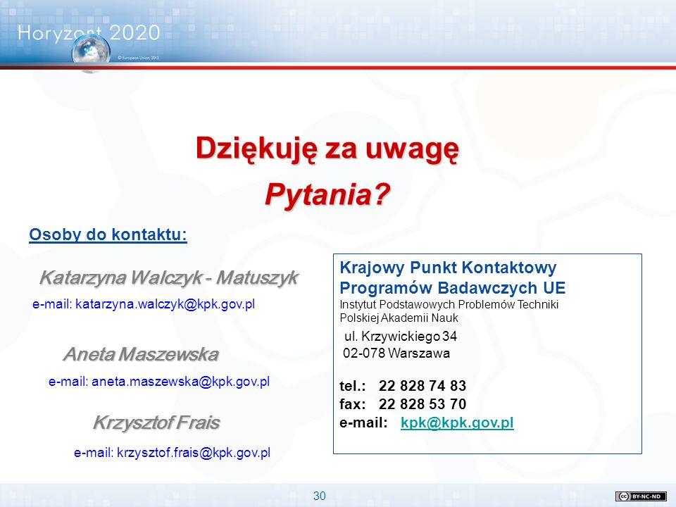 30 Krajowy Punkt Kontaktowy Programów Badawczych UE Instytut Podstawowych Problemów Techniki Polskiej Akademii Nauk ul. Krzywickiego 34 02-078 Warszaw