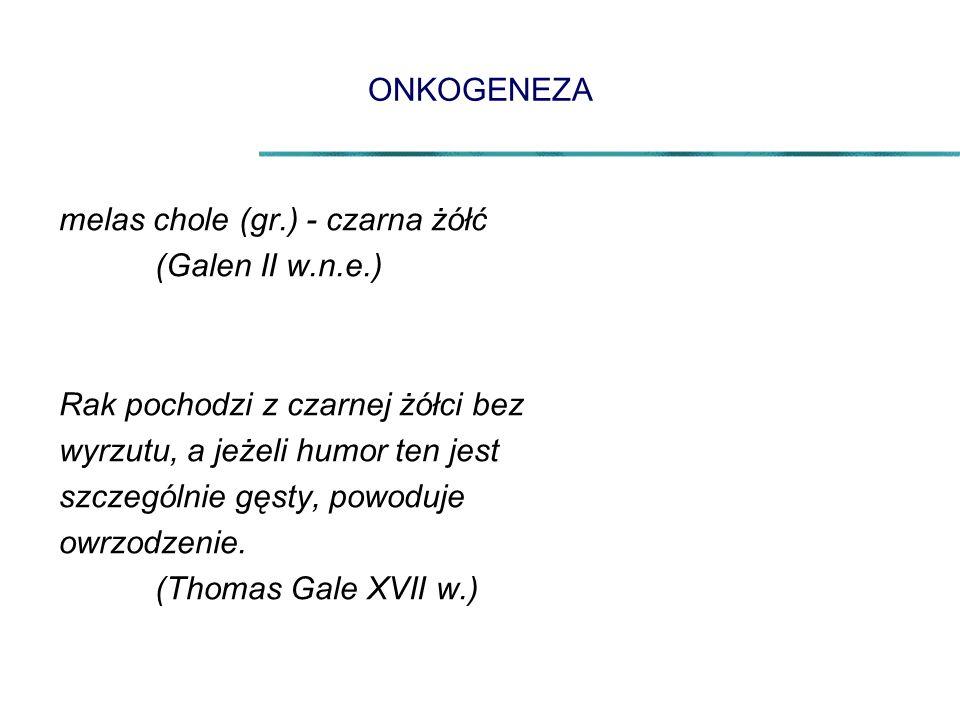 ONKOGENEZA melas chole (gr.) - czarna żółć (Galen II w.n.e.) Rak pochodzi z czarnej żółci bez wyrzutu, a jeżeli humor ten jest szczególnie gęsty, powoduje owrzodzenie.