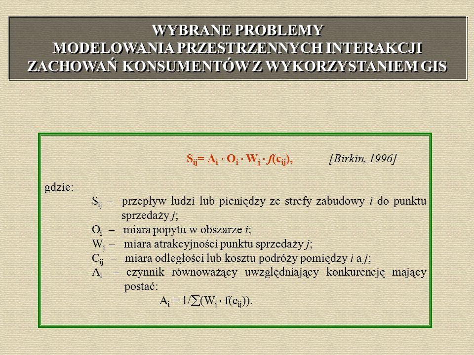 S ij = A i  O i  W j  f(c ij ), [Birkin, 1996] gdzie: S ij – przepływ ludzi lub pieniędzy ze strefy zabudowy i do punktu sprzedaży j; O i – miara popytu w obszarze i; W j – miara atrakcyjności punktu sprzedaży j; C ij – miara odległości lub kosztu podróży pomiędzy i a j; A i – czynnik równoważący uwzględniający konkurencję mający postać: A i = 1/  (W j  f(c ij )).