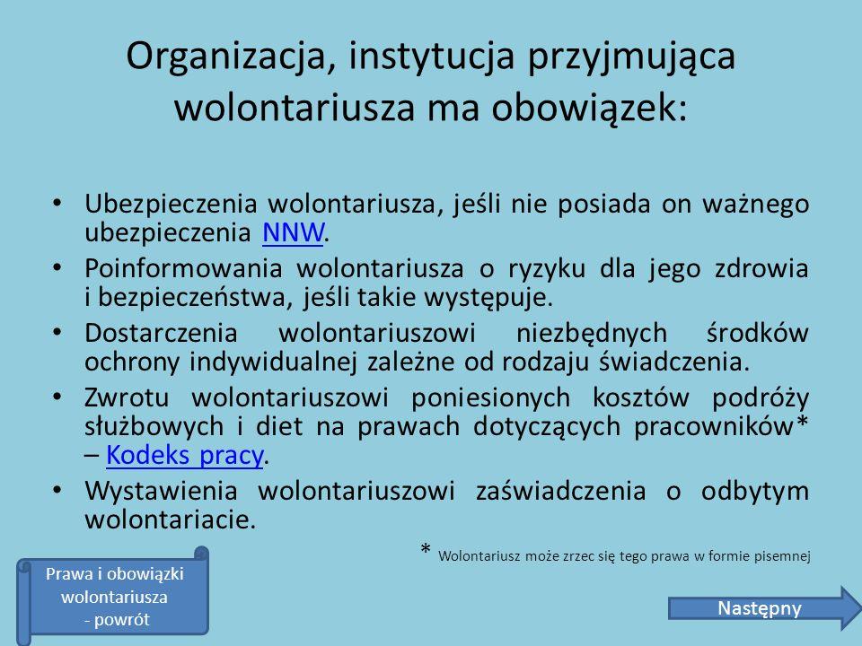 Organizacja, instytucja przyjmująca wolontariusza ma obowiązek: Ubezpieczenia wolontariusza, jeśli nie posiada on ważnego ubezpieczenia NNW.NNW Poinfo