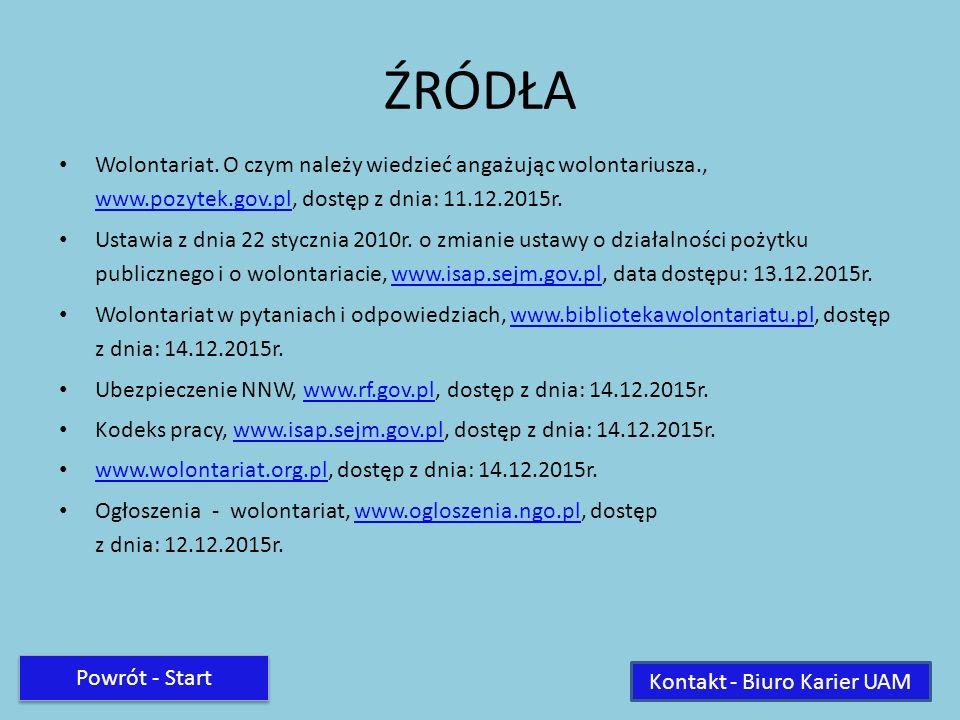 ŹRÓDŁA Wolontariat. O czym należy wiedzieć angażując wolontariusza., www.pozytek.gov.pl, dostęp z dnia: 11.12.2015r. www.pozytek.gov.pl Ustawia z dnia