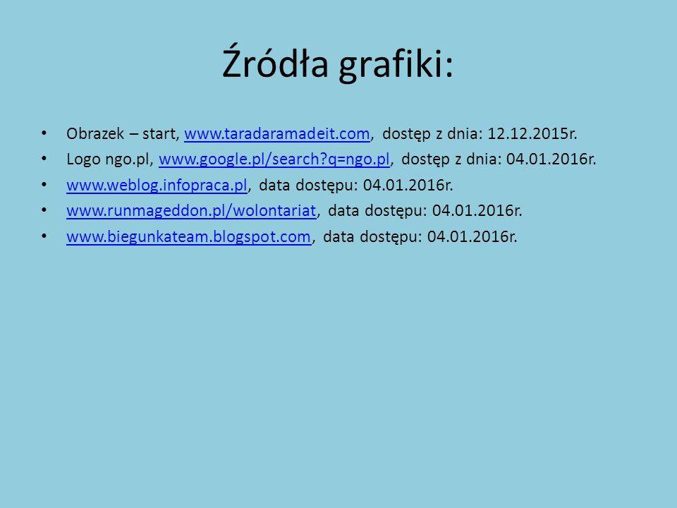 Źródła grafiki: Obrazek – start, www.taradaramadeit.com, dostęp z dnia: 12.12.2015r.www.taradaramadeit.com Logo ngo.pl, www.google.pl/search q=ngo.pl, dostęp z dnia: 04.01.2016r.www.google.pl/search q=ngo.pl www.weblog.infopraca.pl, data dostępu: 04.01.2016r.