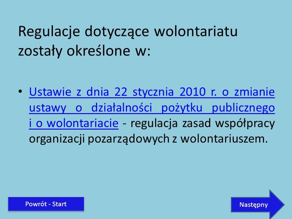 Regulacje dotyczące wolontariatu zostały określone w: Ustawie z dnia 22 stycznia 2010 r. o zmianie ustawy o działalności pożytku publicznego i o wolon