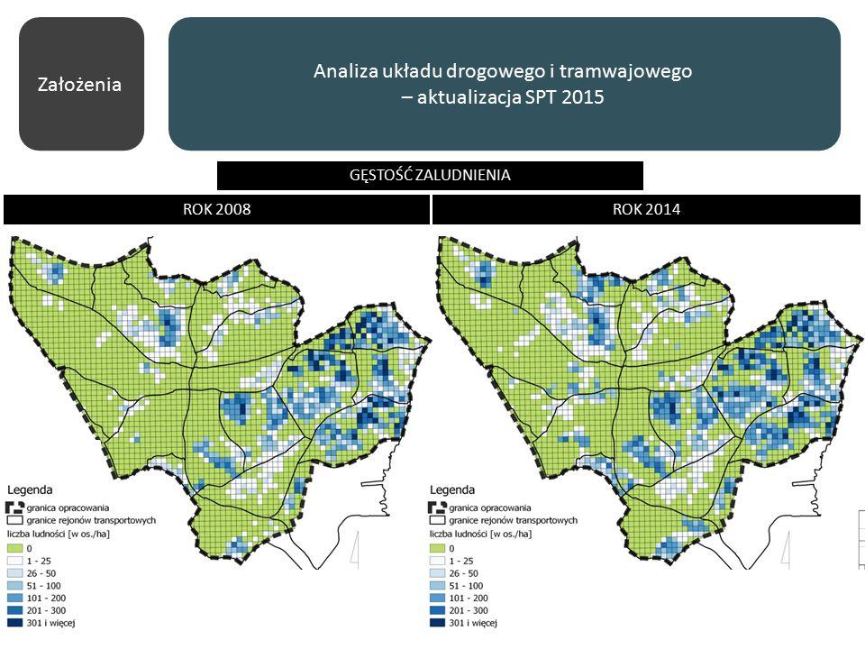 Założenia Analiza układu drogowego i tramwajowego – aktualizacja SPT 2015 ROK 2008ROK 2014 GĘSTOŚĆ ZALUDNIENIA