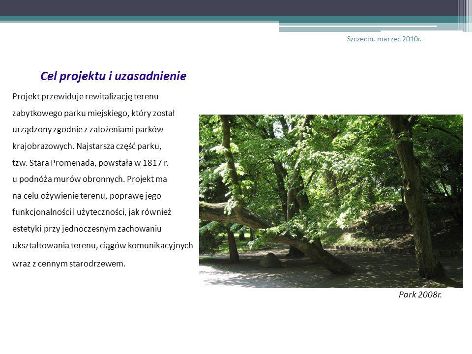 Cel projektu i uzasadnienie Projekt przewiduje rewitalizację terenu zabytkowego parku miejskiego, który został urządzony zgodnie z założeniami parków krajobrazowych.