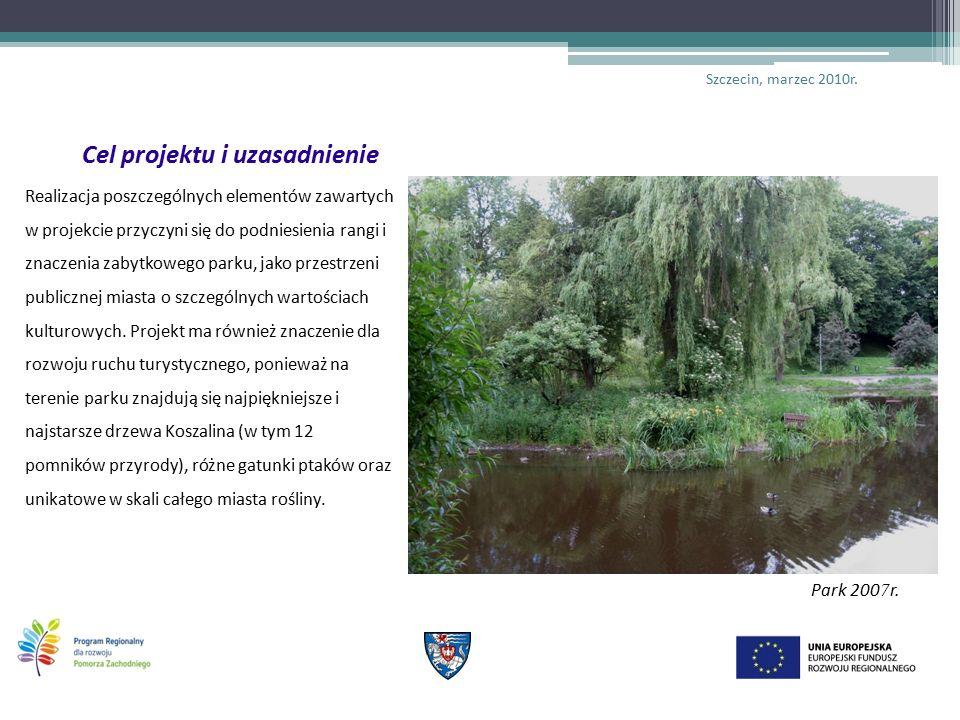 Cel projektu i uzasadnienie Realizacja poszczególnych elementów zawartych w projekcie przyczyni się do podniesienia rangi i znaczenia zabytkowego parku, jako przestrzeni publicznej miasta o szczególnych wartościach kulturowych.