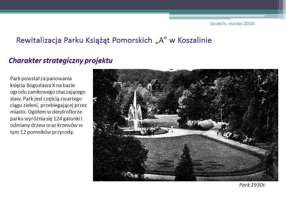 Charakter strategiczny projektu Park powstał za panowania księcia Bogusława X na bazie ogrodu zamkowego otaczającego staw.