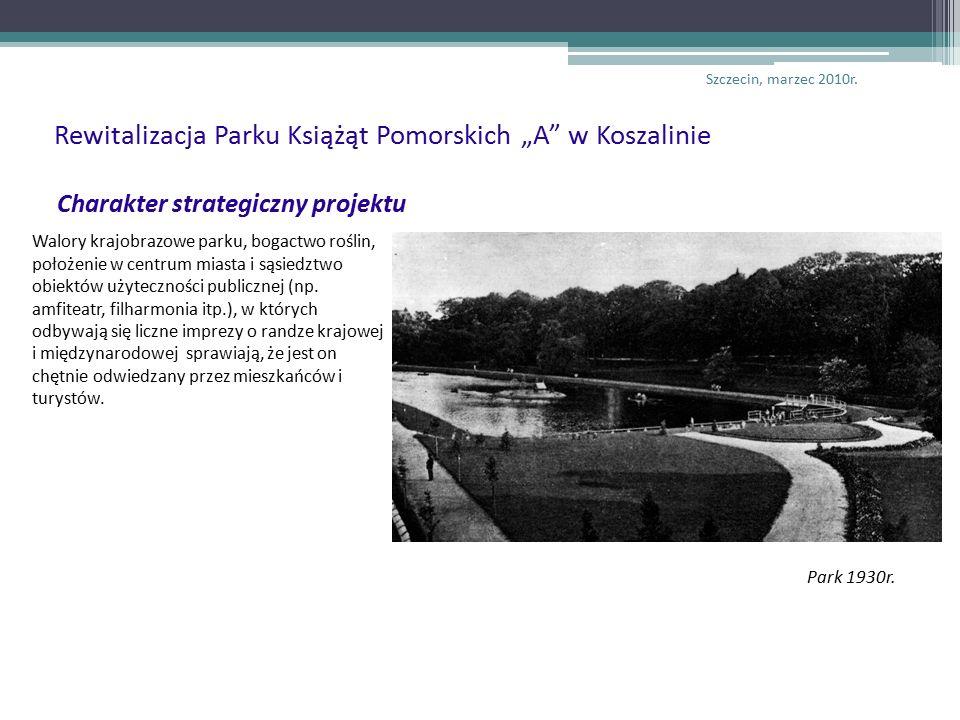 Charakter strategiczny projektu Walory krajobrazowe parku, bogactwo roślin, położenie w centrum miasta i sąsiedztwo obiektów użyteczności publicznej (np.