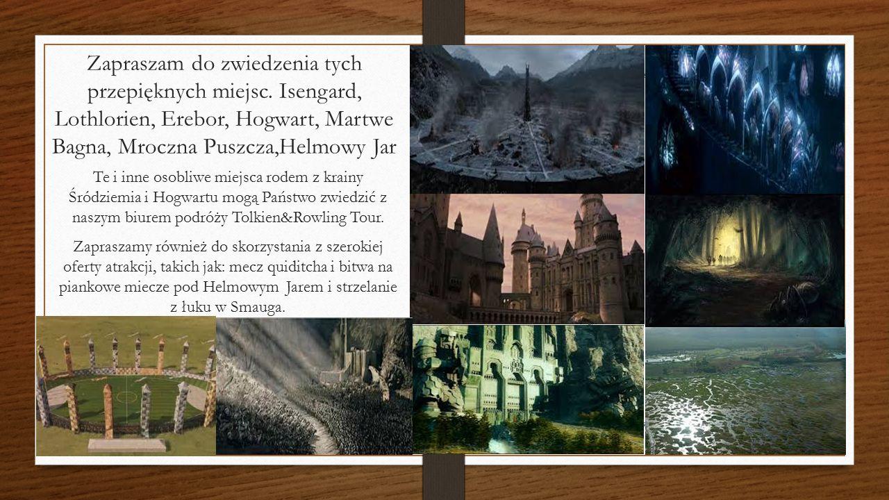 Zapraszam do zwiedzenia tych przepięknych miejsc. Isengard, Lothlorien, Erebor, Hogwart, Martwe Bagna, Mroczna Puszcza,Helmowy Jar Te i inne osobliwe