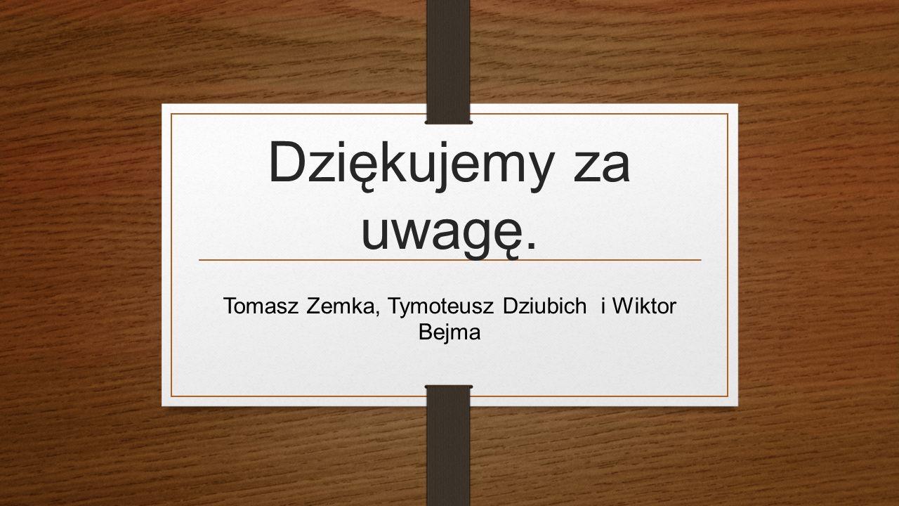 Dziękujemy za uwagę. Tomasz Zemka, Tymoteusz Dziubich i Wiktor Bejma