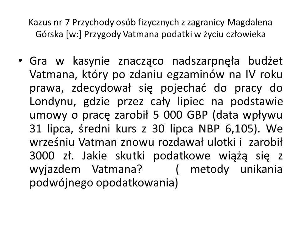 1.Rezydencja podatkowa. Vatman ma miejsce zamieszkania na terytorium Polski, zgodnie z art.