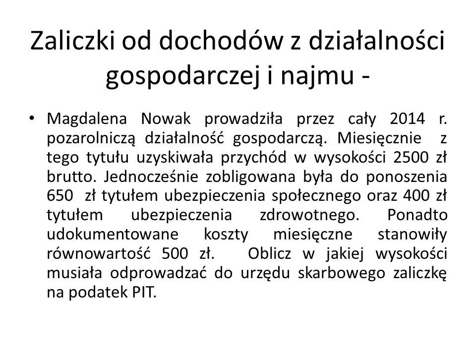 Zaliczki od dochodów z działalności gospodarczej i najmu - Magdalena Nowak prowadziła przez cały 2014 r.