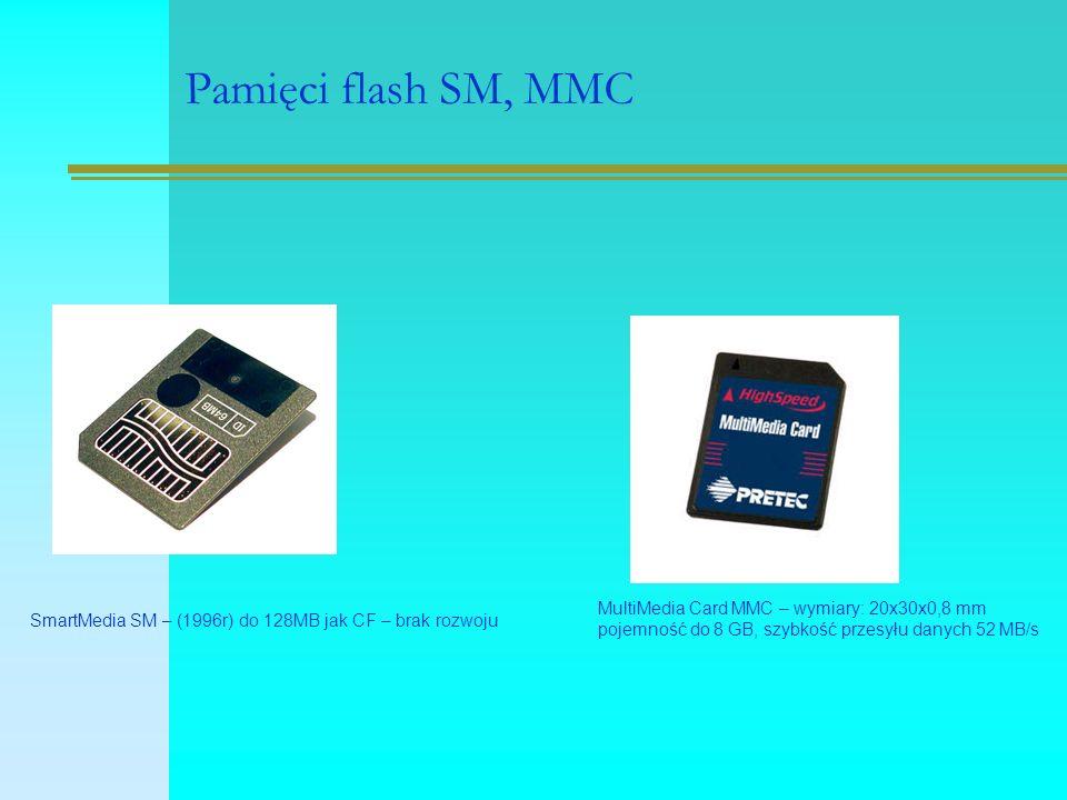 Pamięci flash SM, MMC SmartMedia SM – (1996r) do 128MB jak CF – brak rozwoju MultiMedia Card MMC – wymiary: 20x30x0,8 mm pojemność do 8 GB, szybkość p