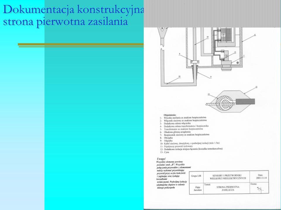 Dokumentacja konstrukcyjna, strona pierwotna zasilania