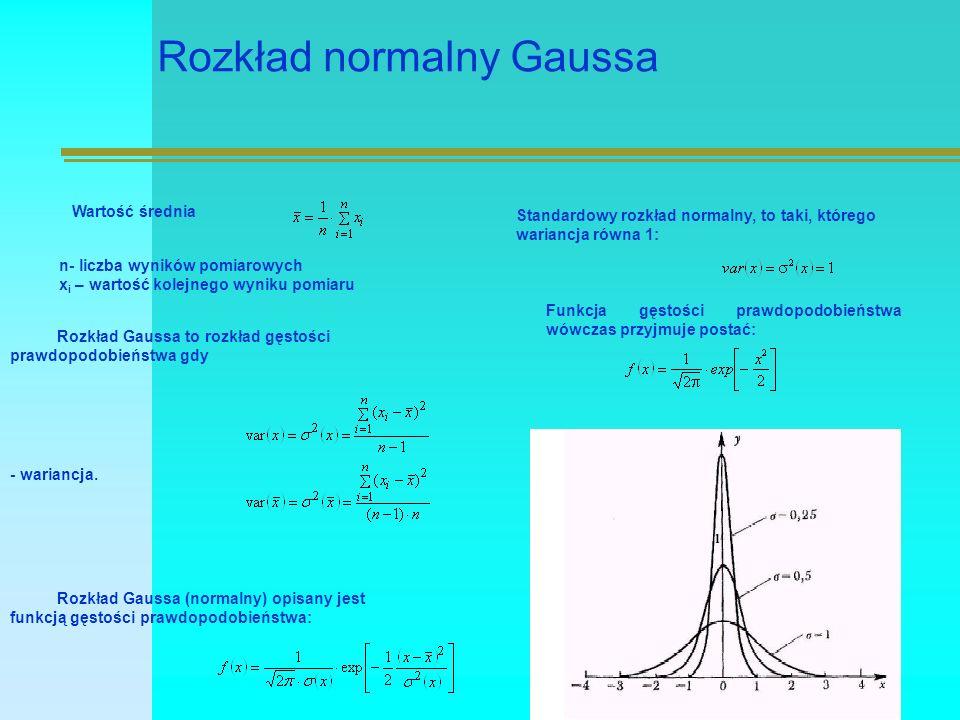 Rozkład normalny Gaussa Wartość średnia n- liczba wyników pomiarowych x i – wartość kolejnego wyniku pomiaru Rozkład Gaussa to rozkład gęstości prawdopodobieństwa gdy Rozkład Gaussa (normalny) opisany jest funkcją gęstości prawdopodobieństwa: Standardowy rozkład normalny, to taki, którego wariancja równa 1: Funkcja gęstości prawdopodobieństwa wówczas przyjmuje postać: - wariancja.