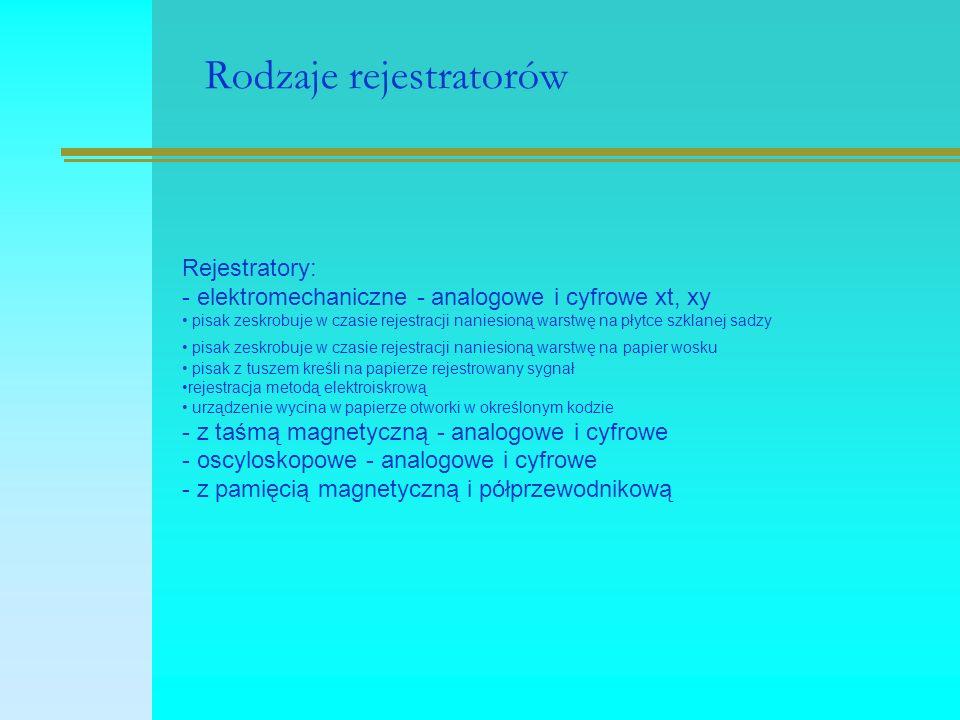 Rodzaje rejestratorów Rejestratory: - elektromechaniczne - analogowe i cyfrowe xt, xy pisak zeskrobuje w czasie rejestracji naniesioną warstwę na płyt